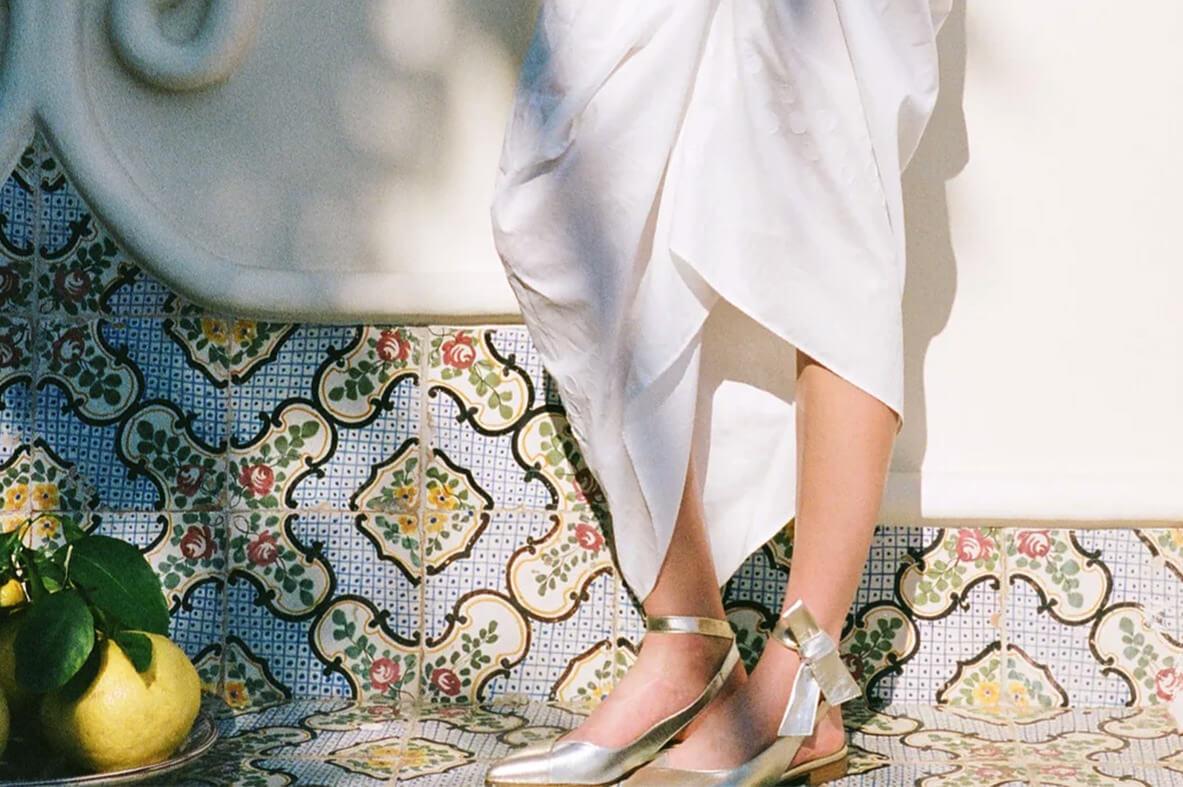 Ballerina foulard Nina Pelle Argento/Platino