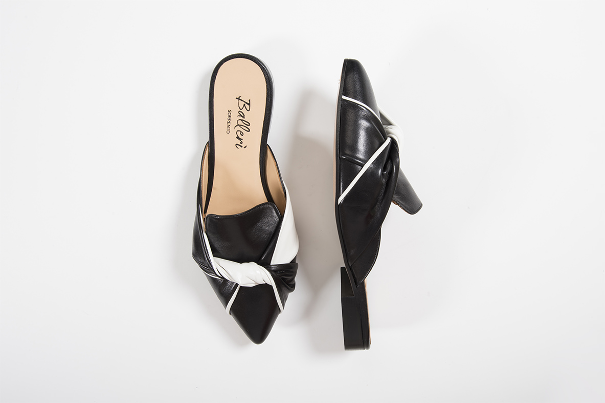Slipper a punta Cora Nappa Bicolore Nero/Bianco
