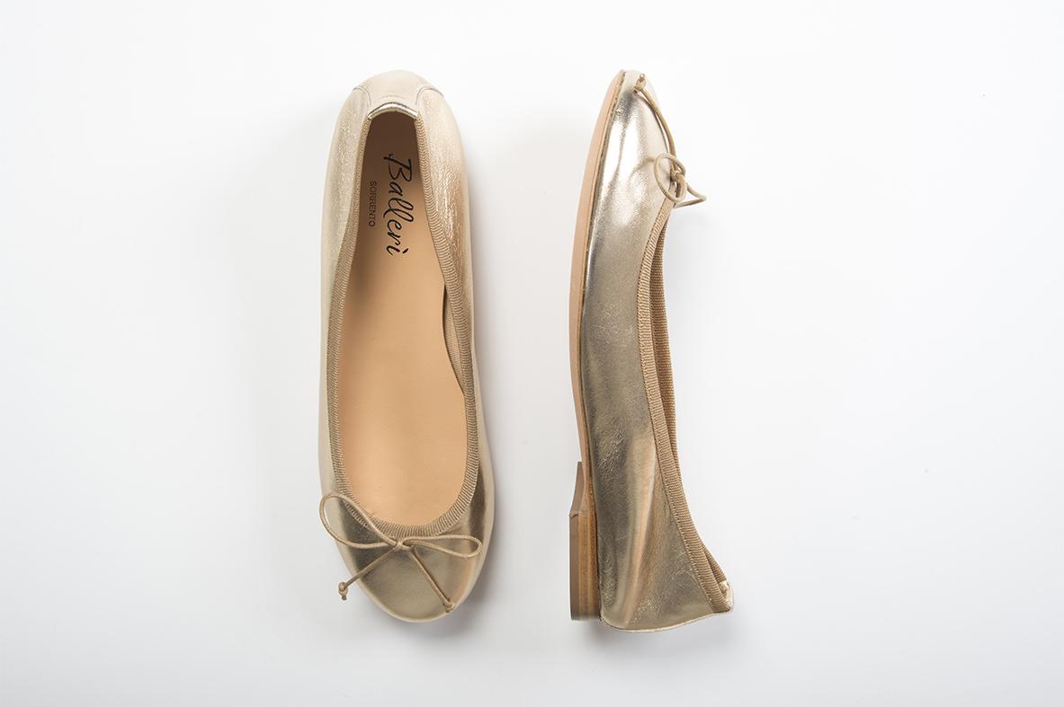 Ballerina a punta tonda Carla Pelle Oro