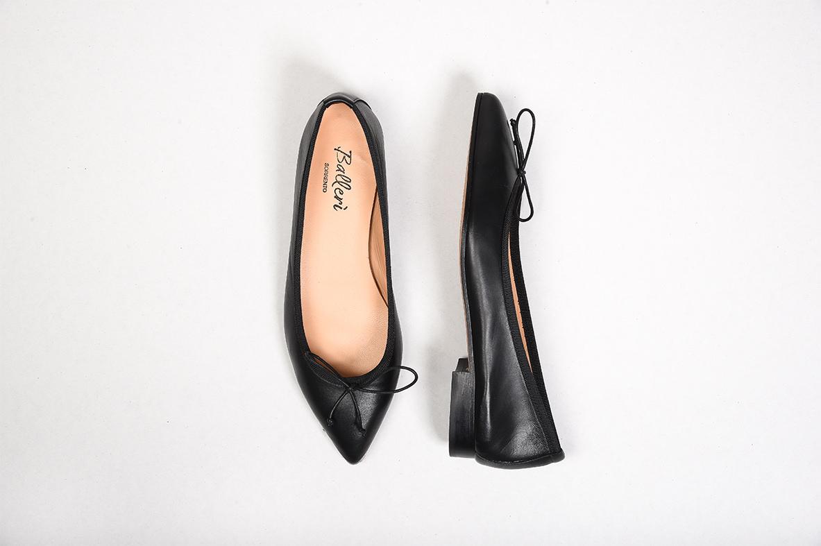 Black Leather Eleonora Ballerina
