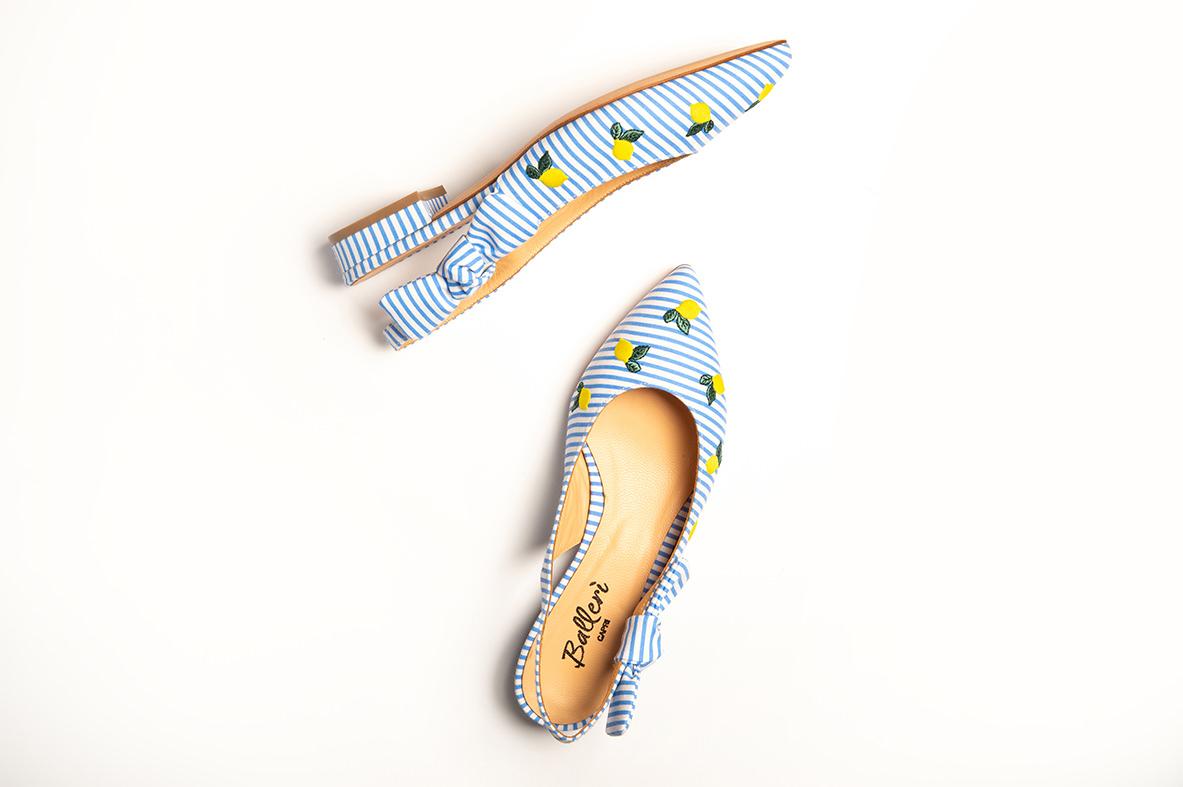 Exclusive Capri Collection - Ballerina a punta JK Righe Azzurre