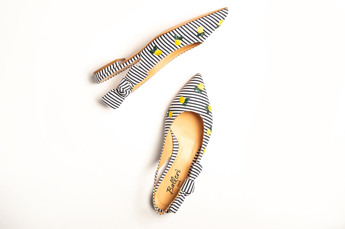 Exclusive Capri Collection - Ballerina a punta JK Righe Blu