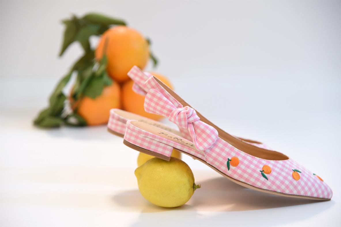 Ballerina a punta Orange Quadri Rosa