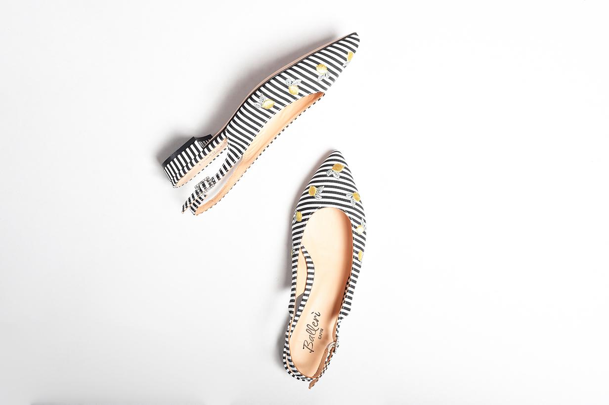 Exclusive Capri Collection - Ballerina a punta Anita Righe Nere
