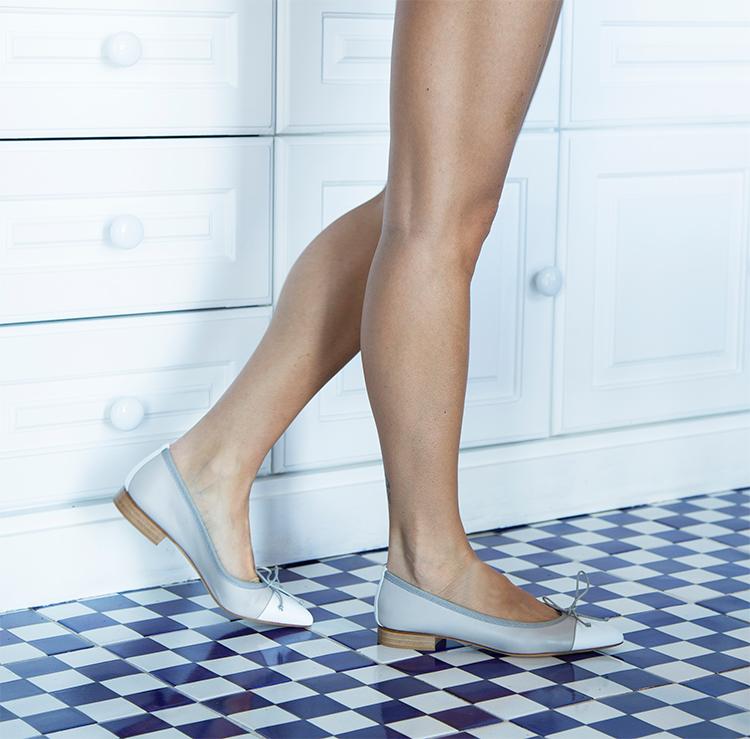 Ballerina a punta bicolore Sofia Pelle Sasso/Bianco